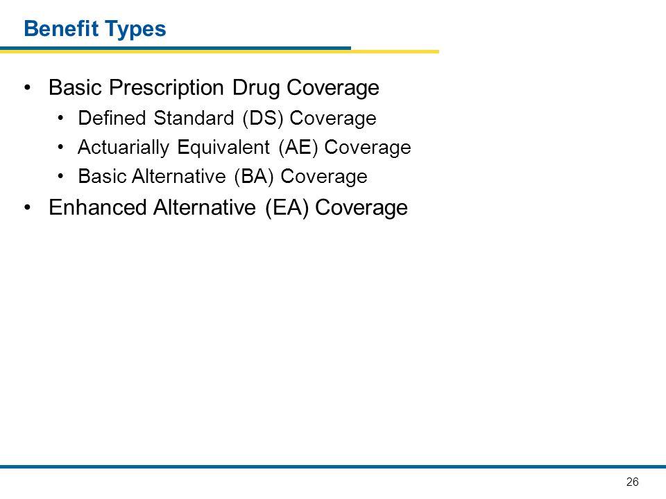 26 Benefit Types Basic Prescription Drug Coverage Defined Standard (DS) Coverage Actuarially Equivalent (AE) Coverage Basic Alternative (BA) Coverage Enhanced Alternative (EA) Coverage