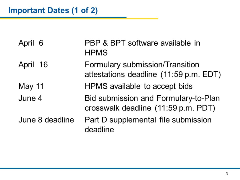 3 Important Dates (1 of 2) April 6PBP & BPT software available in HPMS April 16Formulary submission/Transition attestations deadline (11:59 p.m.