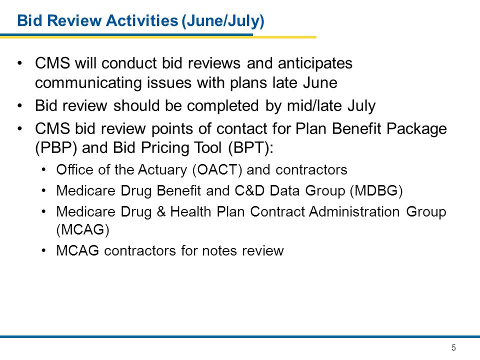 5 Bid Review Activities (June/July) CMS will conduct bid reviews and anticipates communicating issues with plans late June Bid review should be completed by mid/late July CMS bid review points of contact for Plan Benefit Package (PBP) and Bid Pricing Tool (BPT): Office of the Actuary (OACT) and contractors Medicare Drug Benefit and C&D Data Group (MDBG) Medicare Drug & Health Plan Contract Administration Group (MCAG) MCAG contractors for notes review