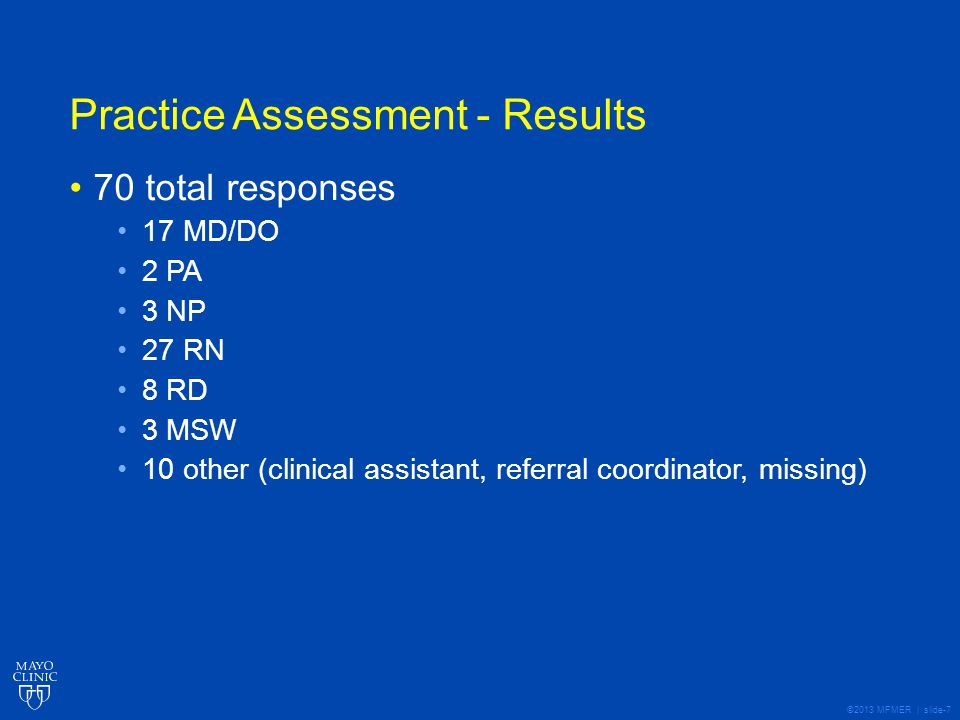 ©2013 MFMER | slide-8 Practice Assessment - Results Top 5 - Doing Well All trnsplnt areas N=70 Kidney N=18 Liver N=13 Heart/ Lung N=13 BMT N=11 Staff uses trained interpreters or language services with patients/caregivers who do not speak English well.77.14%83.33%76.92% 63.64% Staff creates an environment that encourages our patients/caregivers to ask questions and get involved with their care68.57%61.11%69.23%92.31%54.55% Patient education materials are concise, limit jargon, and are designed using standard techniques to make them easy to read.61.43%38.89%84.62%69.23%54.55% Staff talks with patients/caregivers about educational materials provided and emphasizes important information.57.14%61.11%69.23%53.85%54.55% Our practice requests and is open to feedback from patients/caregivers.52.86%44.44%46.15%76.92%36.36%