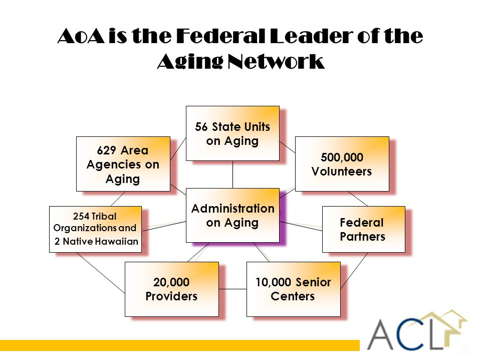 AoA is the Federal Leader of the Aging Network 629 Area Agencies on Aging 254 Tribal Organizations and 2 Native Hawaiian 254 Tribal Organizations and 2 Native Hawaiian 20,000 Providers 20,000 Providers 10,000 Senior Centers Federal Partners Federal Partners 500,000 Volunteers 500,000 Volunteers 56 State Units on Aging Administration on Aging