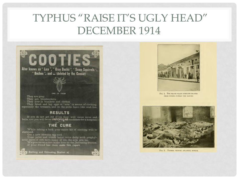 "TYPHUS ""RAISE IT'S UGLY HEAD"" DECEMBER 1914"