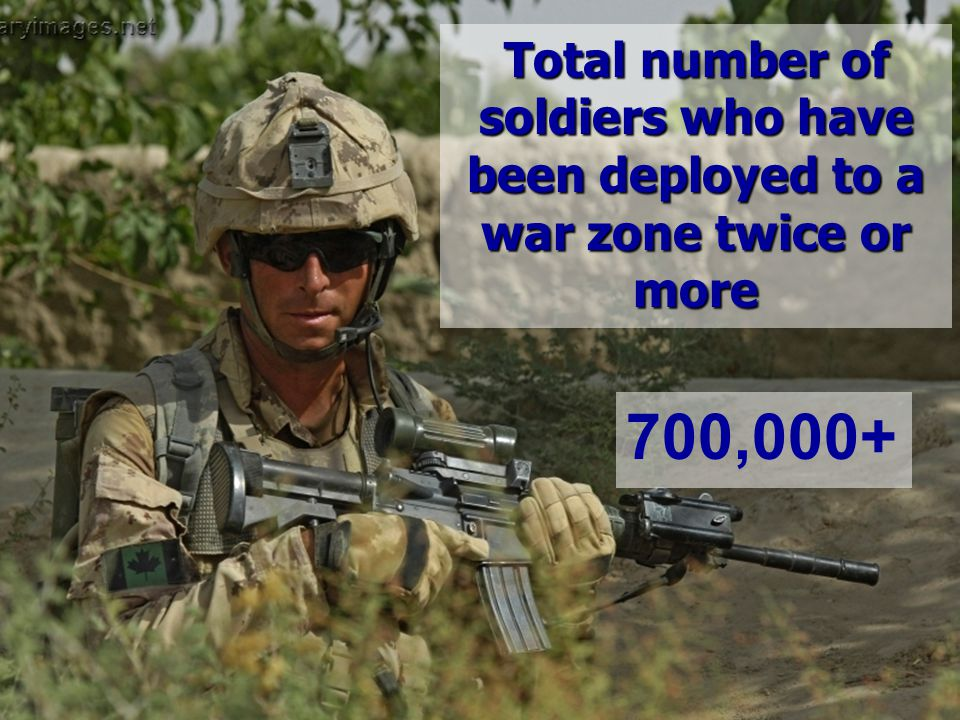 Total number of soldiers who have been deployed to a war zone twice or more 700,000+