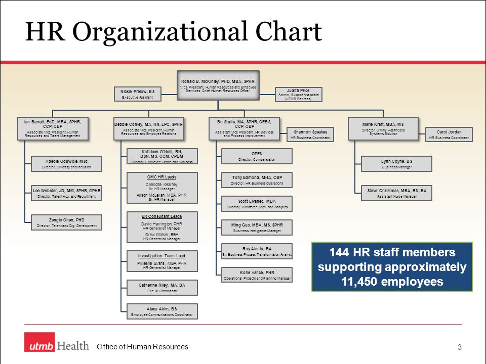 3 HR Organizational Chart 144 HR staff members supporting approximately 11,450 employees Judith Price Admin. Support Associate (UTMB Retirees) Nickie