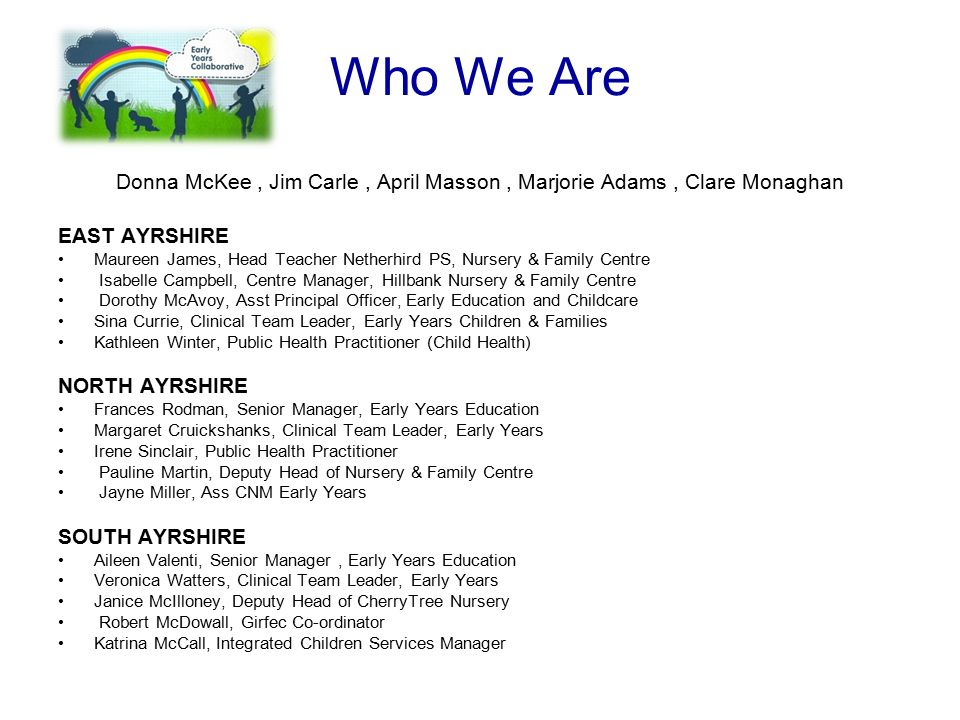 Who We Are Donna McKee, Jim Carle, April Masson, Marjorie Adams, Clare Monaghan EAST AYRSHIRE Maureen James, Head Teacher Netherhird PS, Nursery & Fam