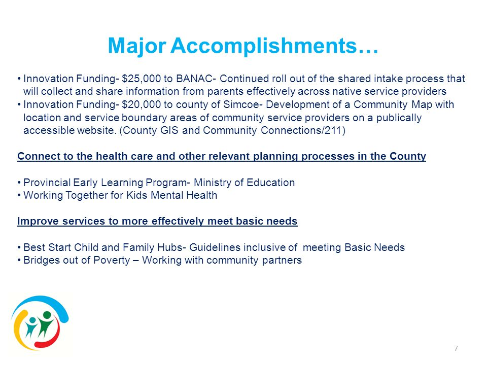 7 Innovation Funding- $25,000 to BANAC- Continued roll out of the shared intake process that will collect and share information from parents effectively across native service providers Innovation Funding- $20,000 to county of Simcoe- Development of a Community Map with location and service boundary areas of community service providers on a publically accessible website.
