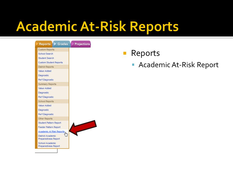  Reports  Academic At-Risk Report