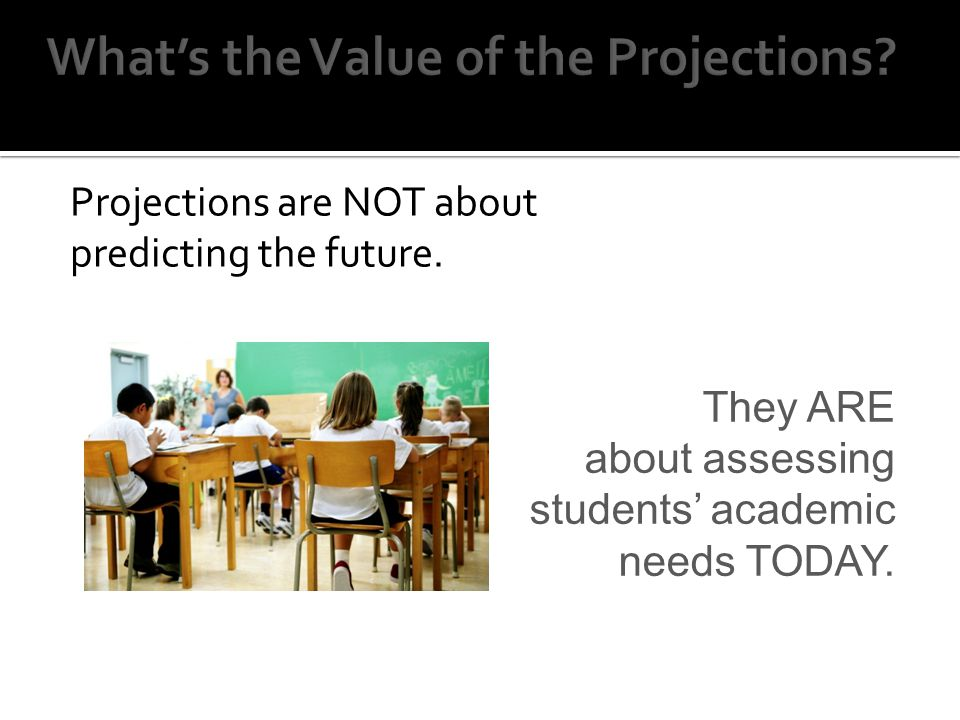 Projections are NOT about predicting the future.