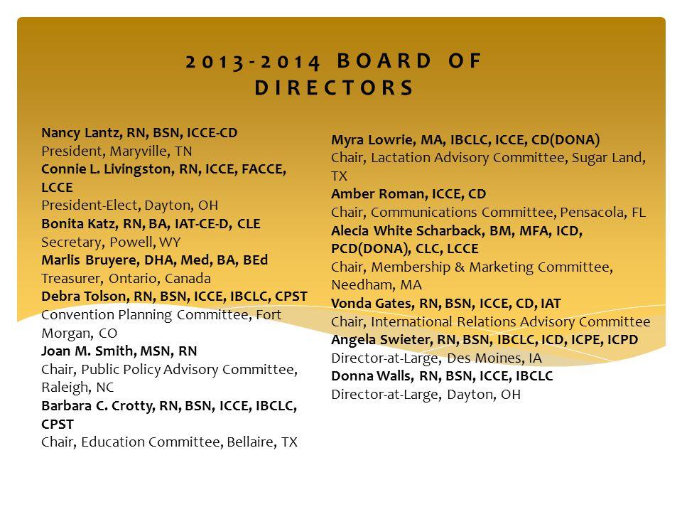 Nancy Lantz, RN, BSN, ICCE-CD President, Maryville, TN Connie L.