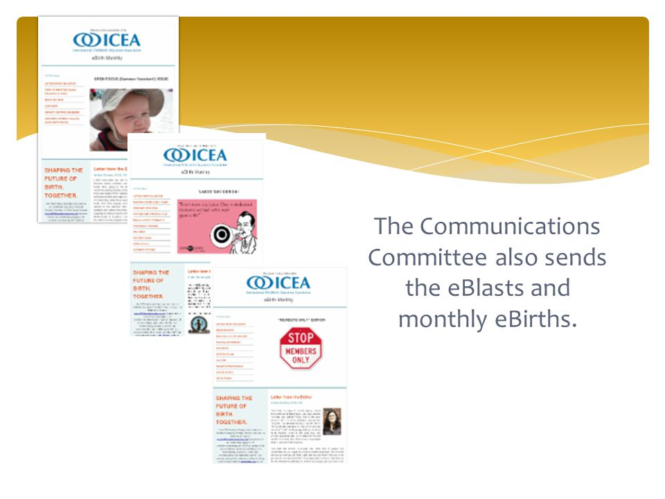 The Communications Committee also sends the eBlasts and monthly eBirths.