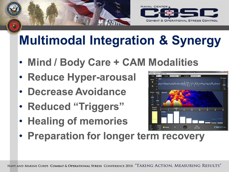 Multimodal Integration & Synergy Mind / Body Care + CAM Modalities Reduce Hyper-arousal Decrease Avoidance Reduced Triggers Healing of memories Preparation for longer term recovery