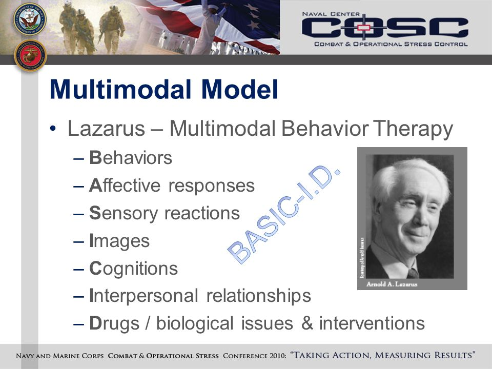Multimodal Model Lazarus – Multimodal Behavior Therapy –Behaviors –Affective responses –Sensory reactions –Images –Cognitions –Interpersonal relationships –Drugs / biological issues & interventions
