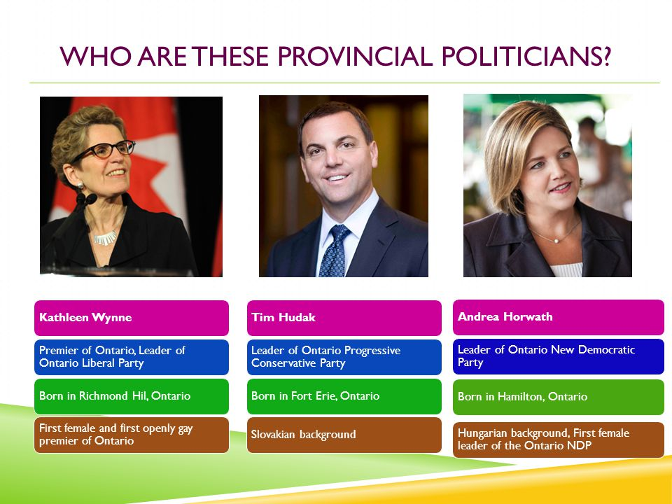 Kathleen Wynne Premier of Ontario, Leader of Ontario Liberal Party Born in Richmond Hil, Ontario First female and first openly gay premier of Ontario WHO ARE THESE PROVINCIAL POLITICIANS.