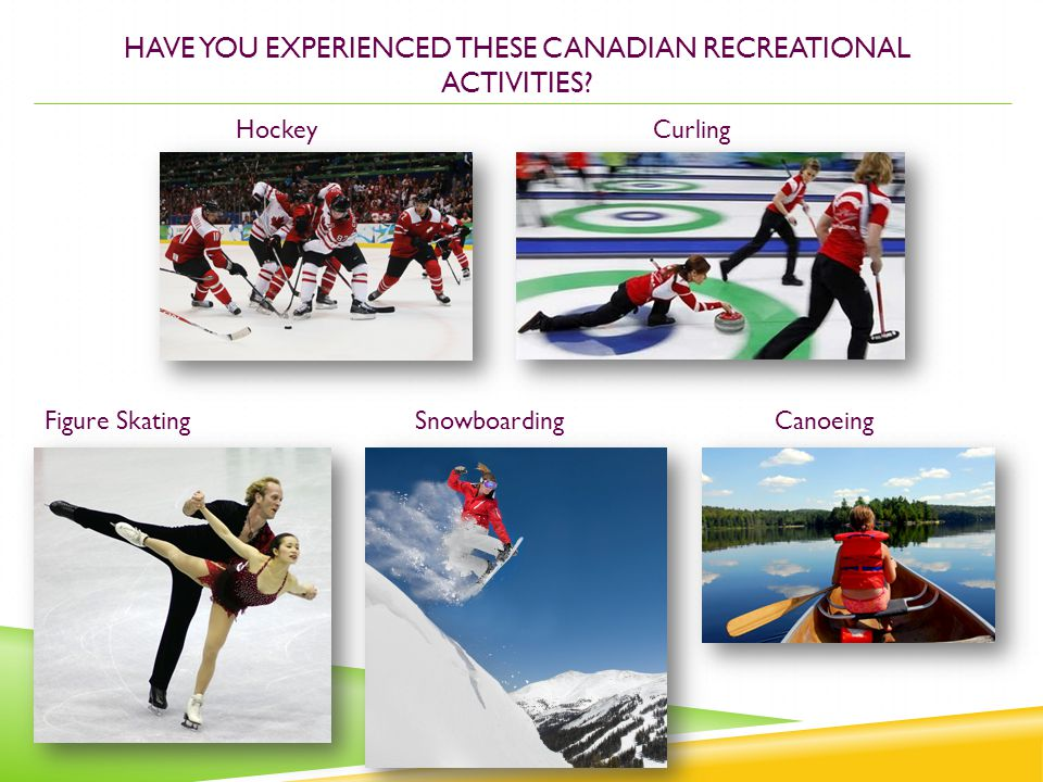 HAVE YOU EXPERIENCED THESE CANADIAN RECREATIONAL ACTIVITIES? HockeyCurling Figure Skating SnowboardingCanoeing