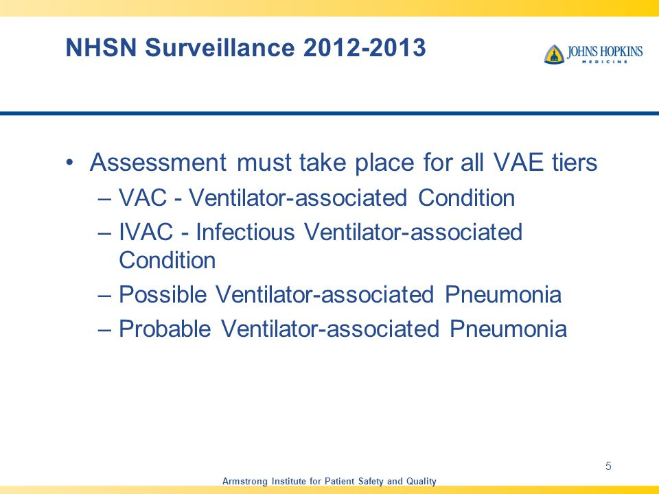 NHSN Surveillance 2012-2013 Assessment must take place for all VAE tiers –VAC - Ventilator-associated Condition –IVAC - Infectious Ventilator-associated Condition –Possible Ventilator-associated Pneumonia –Probable Ventilator-associated Pneumonia Armstrong Institute for Patient Safety and Quality 5