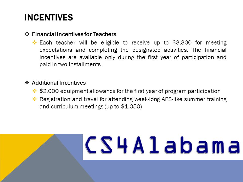 INCENTIVES  Financial Incentives for Teachers  Each teacher will be eligible to receive up to $3,300 for meeting expectations and completing the designated activities.