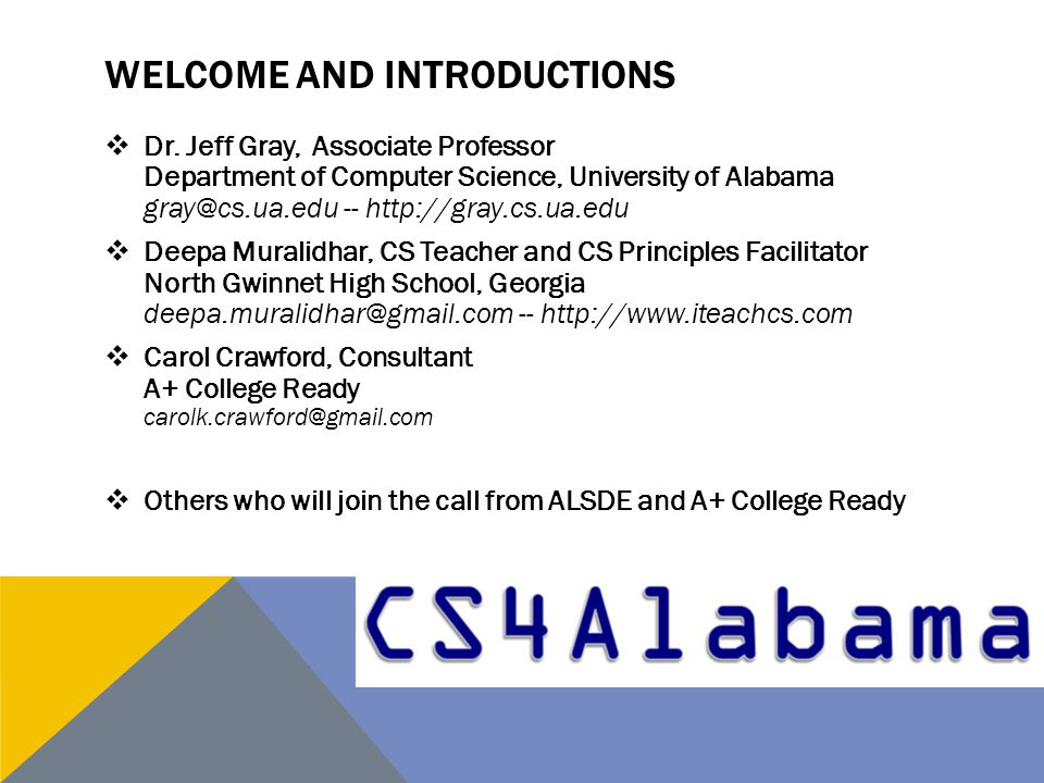 WELCOME AND INTRODUCTIONS  Dr.