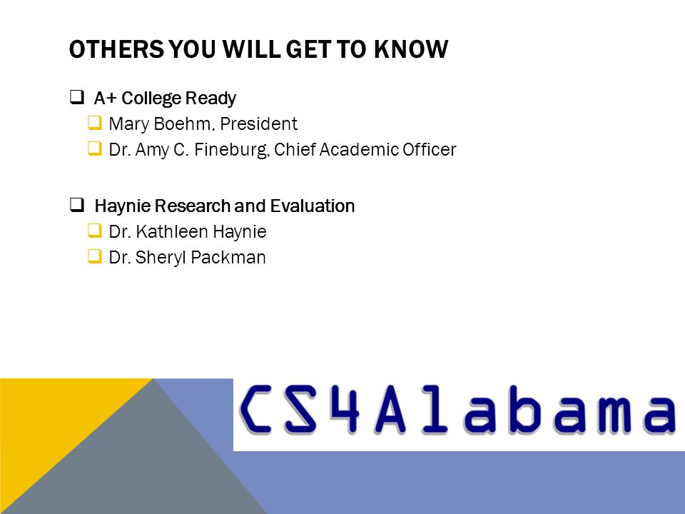 OTHERS YOU WILL GET TO KNOW  A+ College Ready  Mary Boehm, President  Dr.