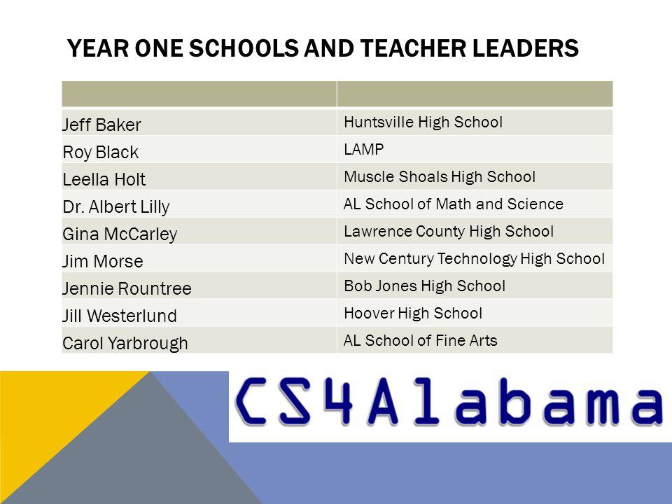 YEAR ONE SCHOOLS AND TEACHER LEADERS Jeff Baker Huntsville High School Roy Black LAMP Leella Holt Muscle Shoals High School Dr. Albert Lilly AL School