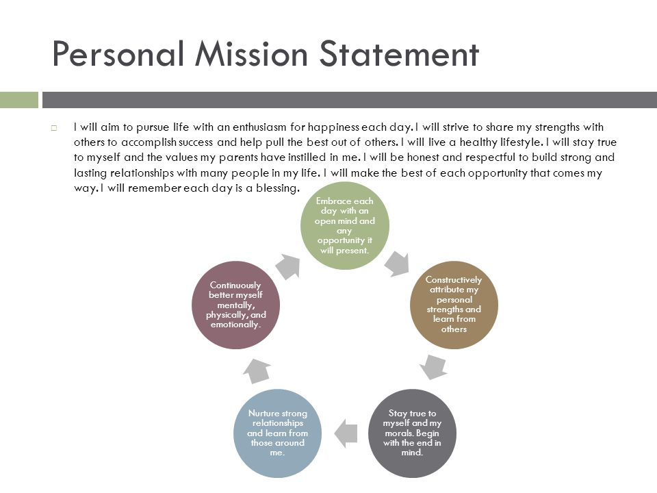 Personal Mission Statement  I will aim to pursue life with an enthusiasm for happiness each day.