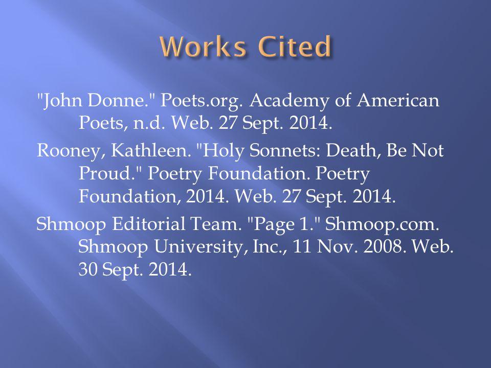 John Donne. Poets.org. Academy of American Poets, n.d.