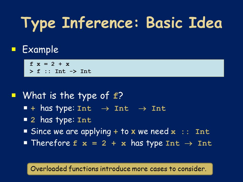  Example  What is the type of f ?  + has type: Int  Int  Int  2 has type: Int  Since we are applying + to x we need x :: Int  Therefore f x =