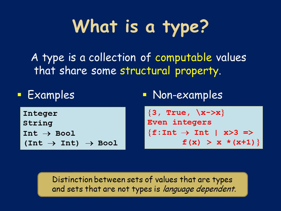 A type is a collection of computable values that share some structural property.