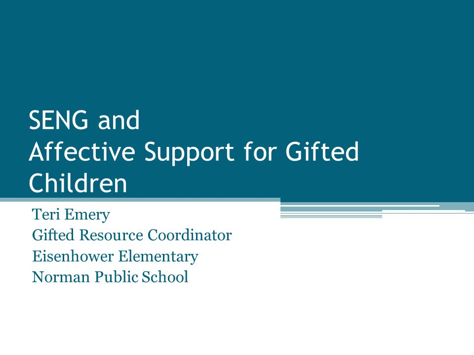 SENG and Affective Support for Gifted Children Teri Emery Gifted Resource Coordinator Eisenhower Elementary Norman Public School