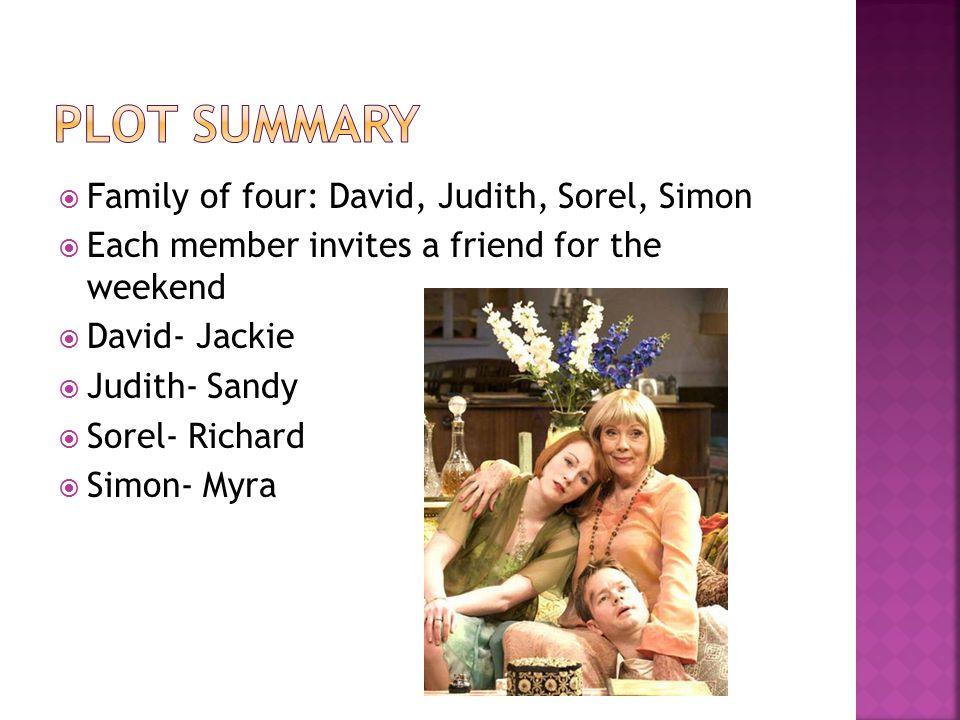  Family of four: David, Judith, Sorel, Simon  Each member invites a friend for the weekend  David- Jackie  Judith- Sandy  Sorel- Richard  Simon- Myra