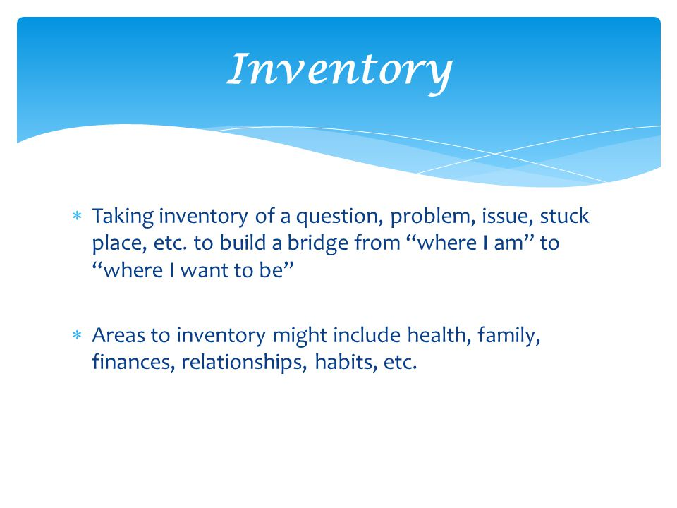  Taking inventory of a question, problem, issue, stuck place, etc.
