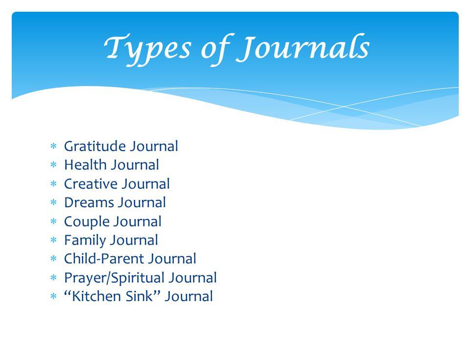  Gratitude Journal  Health Journal  Creative Journal  Dreams Journal  Couple Journal  Family Journal  Child-Parent Journal  Prayer/Spiritual Journal  Kitchen Sink Journal Types of Journals