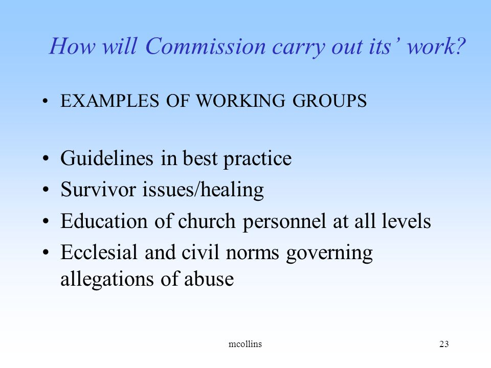 How will Commission carry out its' work.