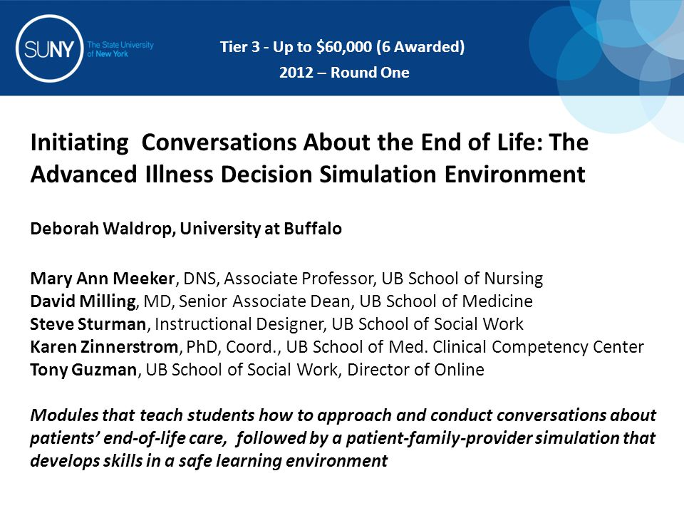 Initiating Conversations About the End of Life: The Advanced Illness Decision Simulation Environment Deborah Waldrop, University at Buffalo Mary Ann M