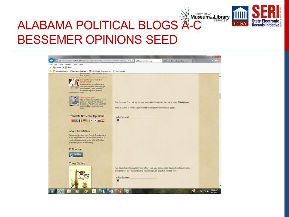 ALABAMA POLITICAL BLOGS A-C BESSEMER OPINIONS SEED