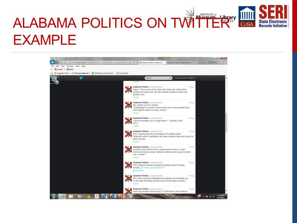 ALABAMA POLITICS ON TWITTER EXAMPLE