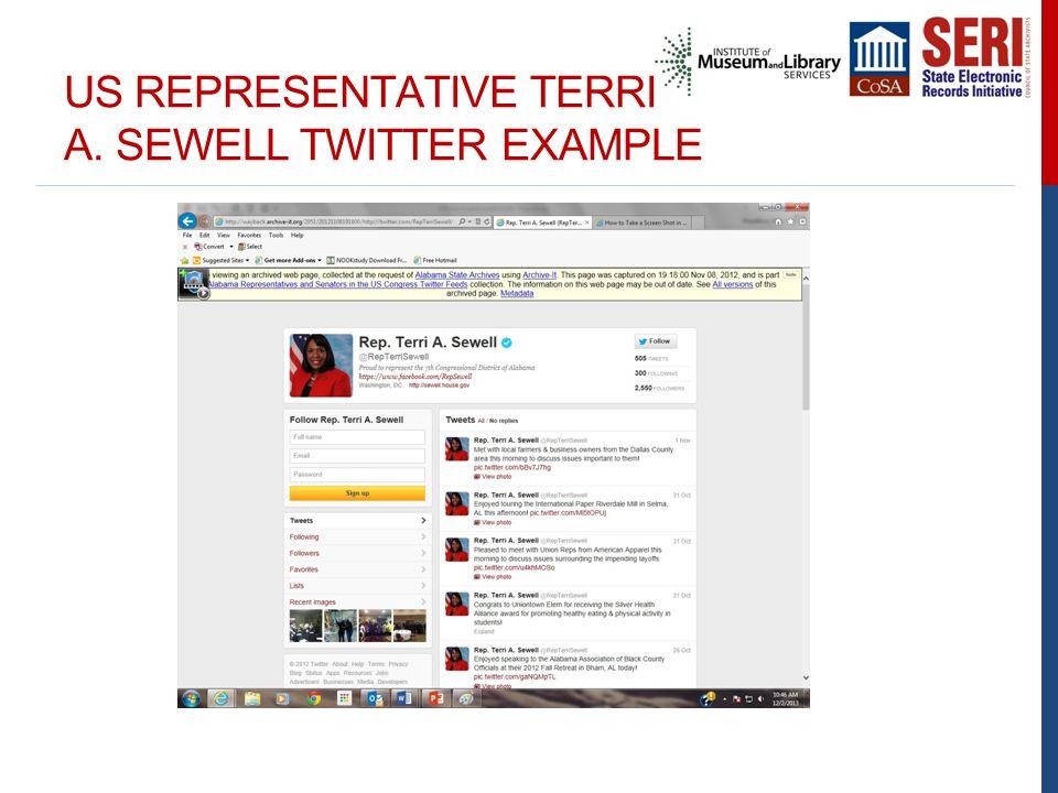 US REPRESENTATIVE TERRI A. SEWELL TWITTER EXAMPLE