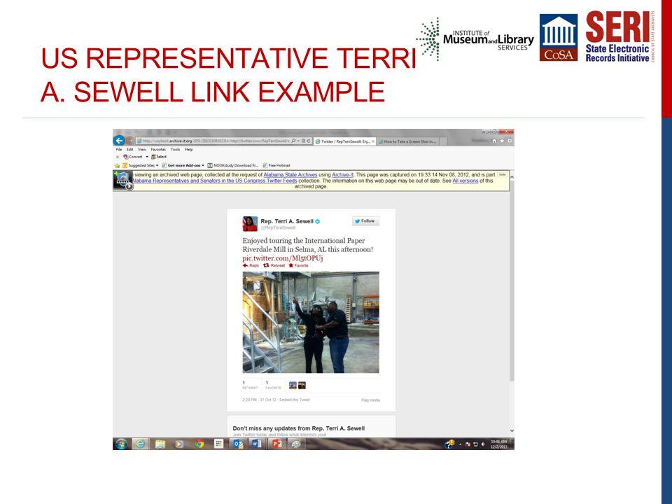 US REPRESENTATIVE TERRI A. SEWELL LINK EXAMPLE