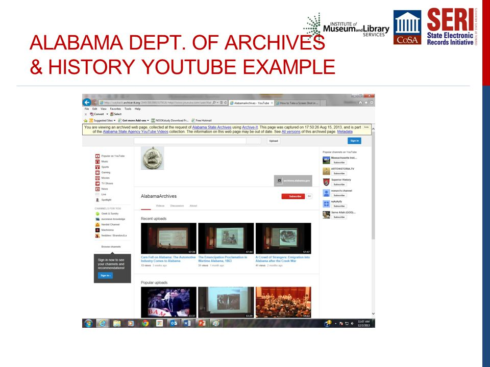 ALABAMA DEPT. OF ARCHIVES & HISTORY YOUTUBE EXAMPLE