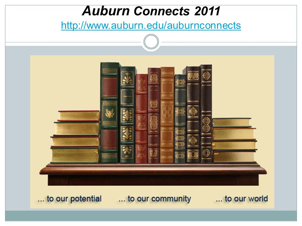 Auburn Connects 2011 http://www.auburn.edu/auburnconnects http://www.auburn.edu/auburnconnects