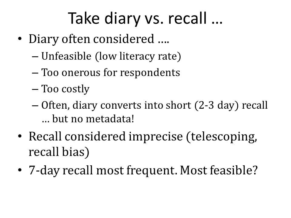 Take diary vs. recall … Diary often considered ….
