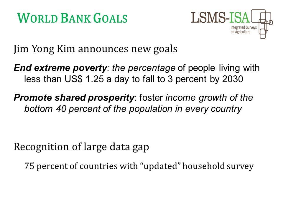 W ORLD B ANK G OALS Jim Yong Kim announces new goals End extreme poverty: the percentage of people living with less than US$ 1.25 a day to fall to 3 percent by 2030 Promote shared prosperity: foster income growth of the bottom 40 percent of the population in every country Recognition of large data gap 75 percent of countries with updated household survey