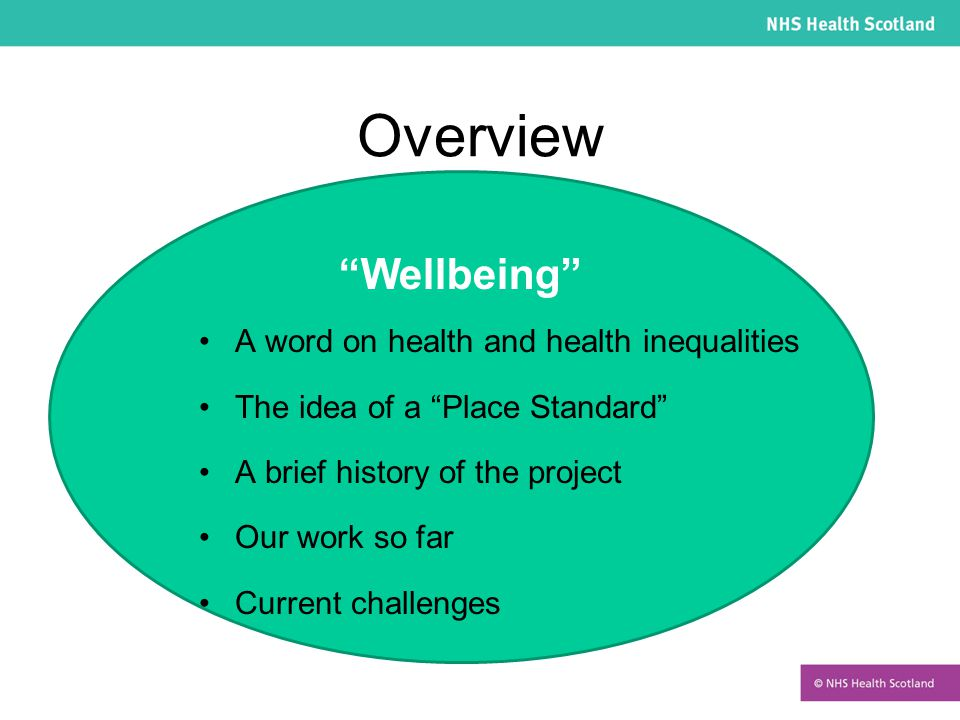 Wellbeing Overview A word on health and health inequalities The idea of a Place Standard A brief history of the project Our work so far Current challenges