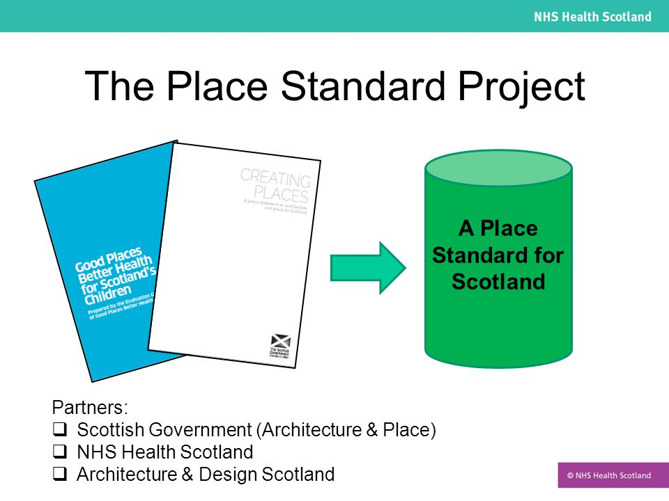 The Place Standard Project Partners:  Scottish Government (Architecture & Place)  NHS Health Scotland  Architecture & Design Scotland A Place Stand