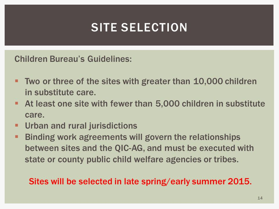14 SITE SELECTION Children Bureau's Guidelines:  Two or three of the sites with greater than 10,000 children in substitute care.