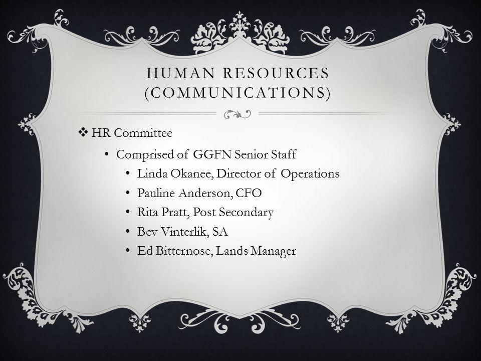 HUMAN RESOURCES (COMMUNICATIONS)  HR Committee Comprised of GGFN Senior Staff Linda Okanee, Director of Operations Pauline Anderson, CFO Rita Pratt,