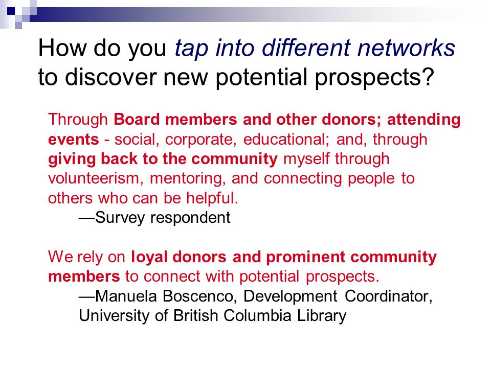 How do you tap into different networks to discover new potential prospects.