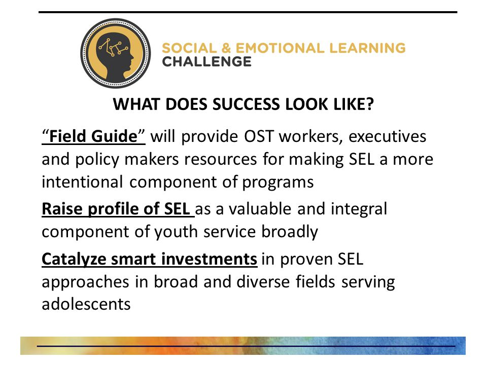 """WHAT DOES SUCCESS LOOK LIKE? """"Field Guide"""" will provide OST workers, executives and policy makers resources for making SEL a more intentional componen"""