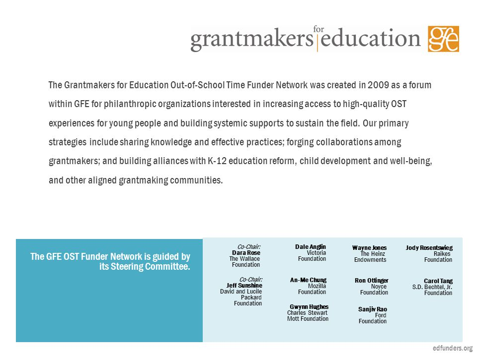 An-Me Chung Mozilla Foundation The Grantmakers for Education Out-of-School Time Funder Network was created in 2009 as a forum within GFE for philanthropic organizations interested in increasing access to high-quality OST experiences for young people and building systemic supports to sustain the field.