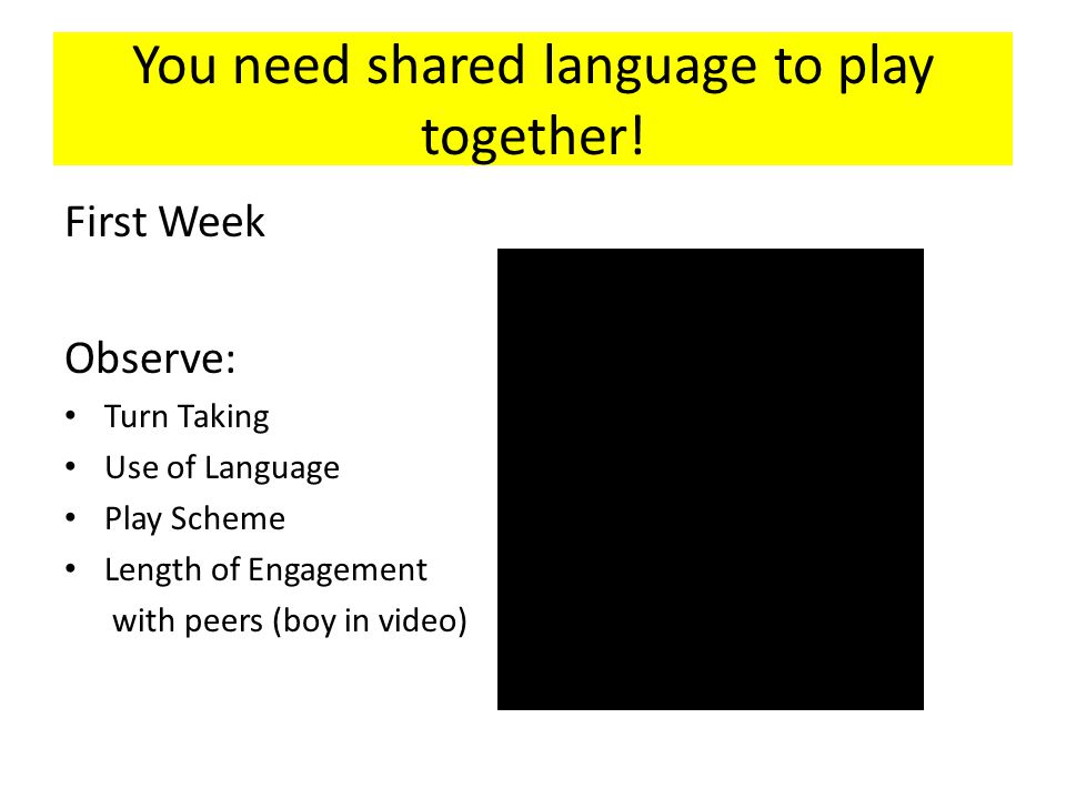 You need shared language to play together.