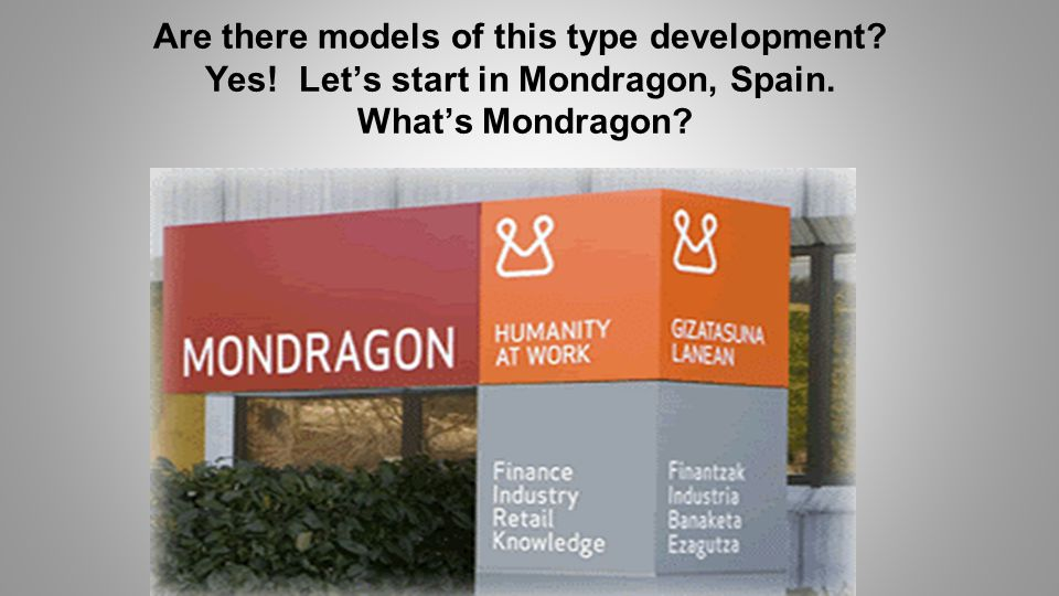Are there models of this type development Yes! Let's start in Mondragon, Spain. What's Mondragon